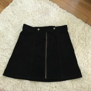 Dresses & Skirts - Genuine suede leather skirt black small